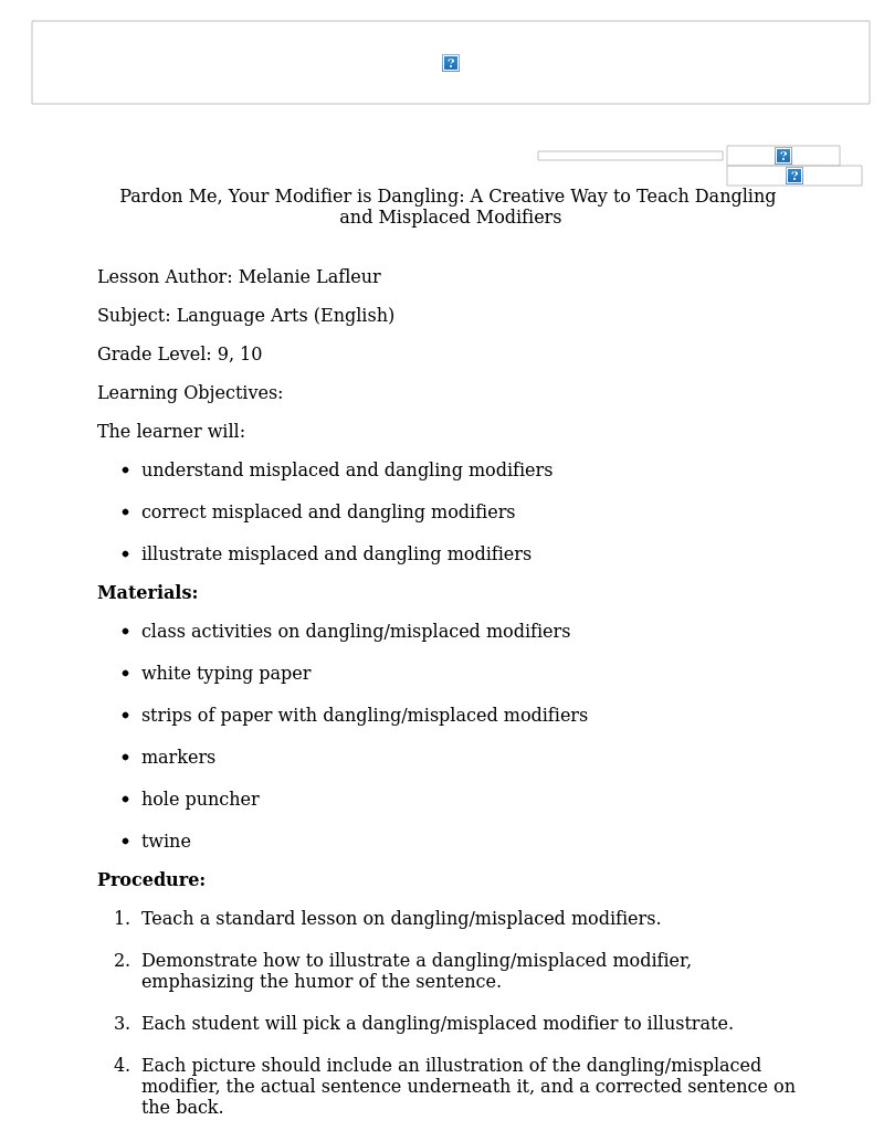 Misplaced Modifiers Lesson Plans Worksheets Lesson Planet