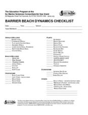 Barrier Beach Dynamics Checklist Lesson Plan
