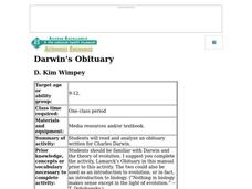 Darwin's Obituary Lesson Plan