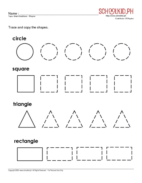 Math Readiness Shapes Worksheet For Kindergarten 1st