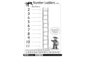 Number Ladder: 2 Less Worksheet