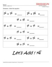 Math – Addition 0 to 9 Worksheet
