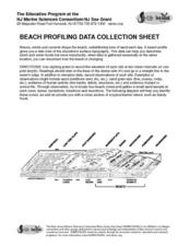 Beach Profiling Data Collection Sheet Lesson Plan