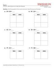 Addition and Subtraction Up to Two-Digits Worksheet