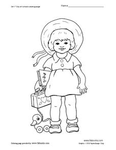 1st Day of School Coloring Page Worksheet