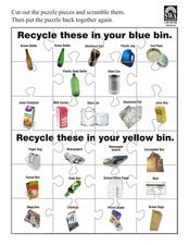 Recycle These in Blue Bin Worksheet