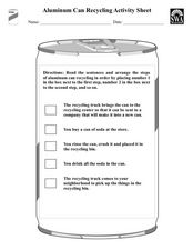 Aluminum Can Recycling Activity Sheet Worksheet