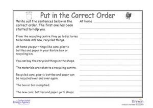 Put In the Correct Order (Recycling) Worksheet