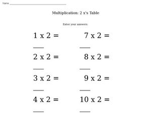 Multiplication: 2 x's Table Worksheet