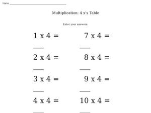 Multiplication: 4 x's Table Worksheet