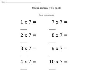 Multiplication: 7 x's table Worksheet