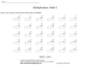 Multiplication: Math 5 Worksheet