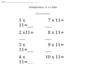 Multiplication: 11 x's table Worksheet