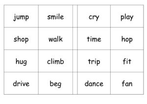 Bingo: -ING Words Worksheet