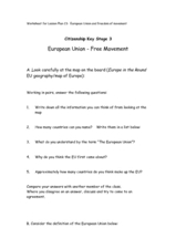 European Union - Free Movement Worksheet