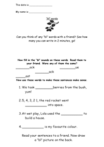 """Bl"" Words Worksheet"