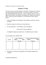 Symmetry of Flag Worksheet