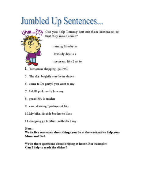 All Worksheets u00bb Jumbled Sentences Worksheets For Grade 1 ...