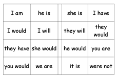 Contraction Bingo Worksheet
