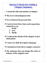Success Criteria for Writing a Chapter Summary Worksheet