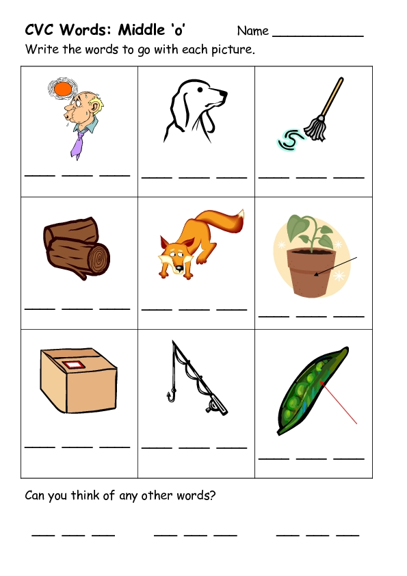 Cvc Words Middle O Worksheet For Kindergarten 2nd Grade