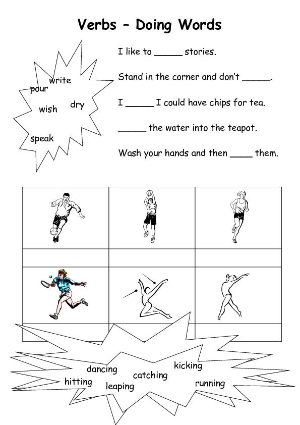Verbs Doing Words 2 Worksheet for 1st   3rd Grade ...