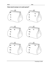 How Much Money is in Each Purse? Worksheet