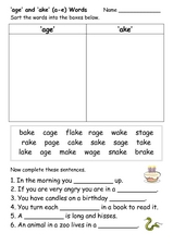 Sorting long a words Worksheet