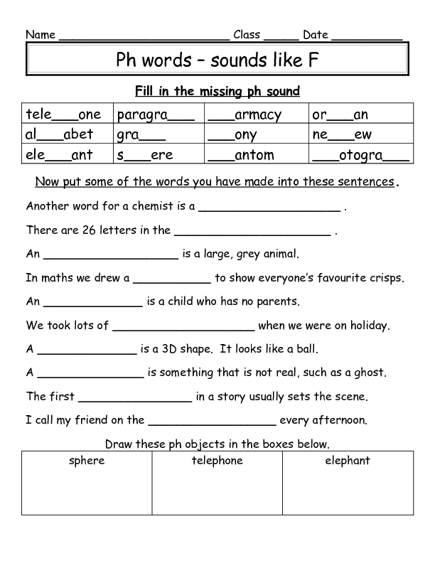 Ph words 1st - 3rd Grade Worksheet | Lesson Planet