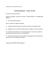 Tourism (Extension) - Tourist Arrivals Worksheet