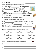 "'O-E"" Words Worksheet"