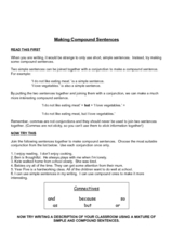Making compound sentences Worksheet