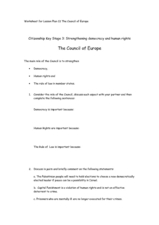 The Council of Europe Worksheet