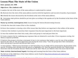 Lesson Plan: The State of the Union Lesson Plan