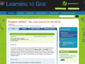 Disaster Relief - You Can Count On Me! Lesson Plan