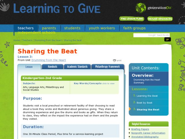 Sharing the Beat Lesson Plan
