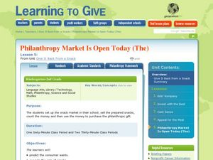 Philanthropy Market Is Open Today Lesson Plan