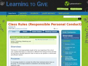 Class Rules (Responsible Personal Conduct) Lesson Plan