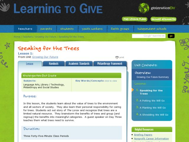 Speaking for the Trees Lesson Plan