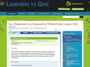 Our Classroom is a Community: LEAGUE Philanthropy Lesson Lesson Plan