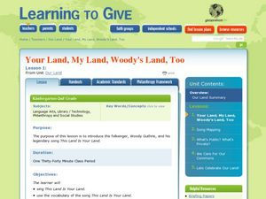 Your Land, My Land, Woody's Land Too Lesson Plan