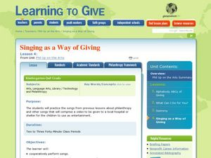 Singing as a Way of Giving Lesson Plan
