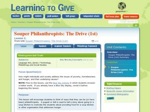 Souper Philanthropists: The Drive Lesson Plan
