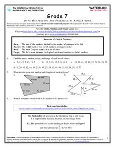 Data Management and Probability: Applications Worksheet