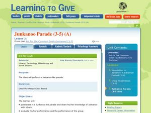 Learning to give: Junkanoo Lesson Plan