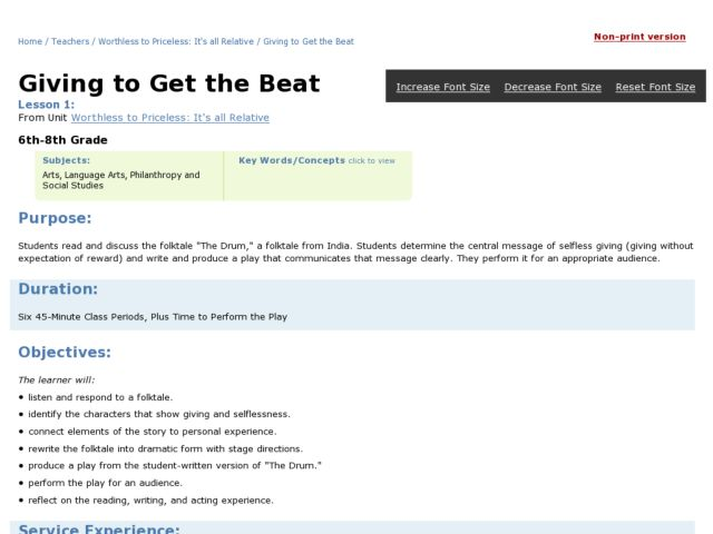Giving to Get the Beat Lesson Plan