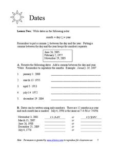 Dates Worksheet