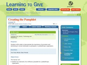 Creating the Pamphlet Lesson Plan