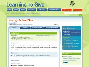 Energy Action Plan Lesson Plan