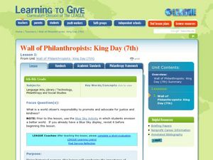 Wall of Philanthropists: King Day (7th) Lesson Plan